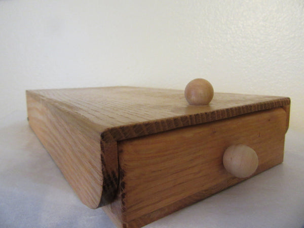Storage Box Vintage Handmade from Oak 4 Sections Lifting Lid Paint Brush Box - JAMsCraftCloset