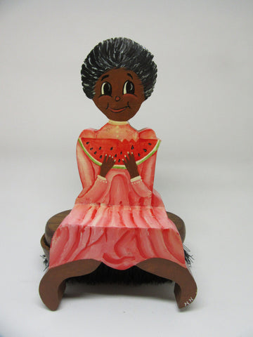 Shelf Sitter Girl With Watermelon Black Americana Wooden Handmade Hand Painted - JAMsCraftCloset