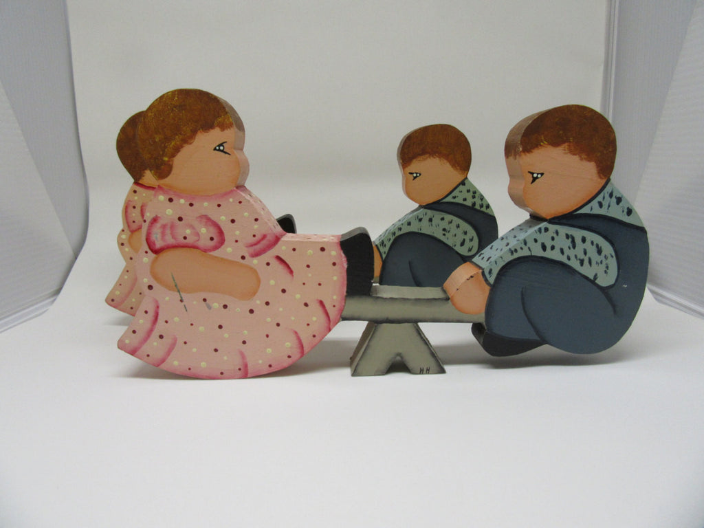 Shelf Sitters Seesaw Boy and Girl Folk Art Vintage Handmade Hand Painted - JAMsCraftCloset