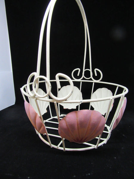 Basket Wire Seashell Vintage Basket - JAMsCraftCloset