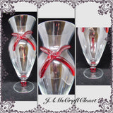 Vase Red Glass Bow Vintage Hand Blown - JAMsCraftCloset