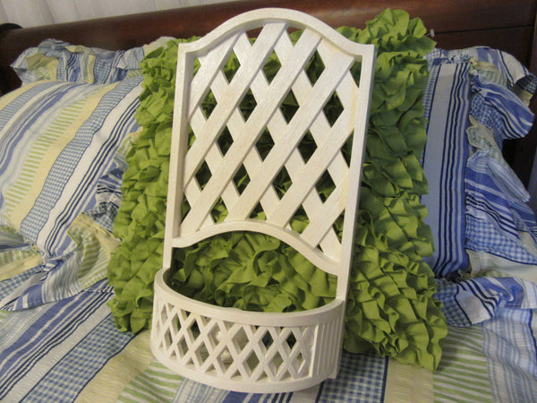 Candlestick Votive Holder Vintage Burwood Products Company Molded Lattice Off White Cream Color - JAMsCraftCloset