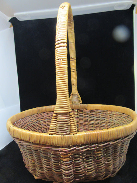 Basket Gathering Vintage Natural Woven - JAMsCraftCloset