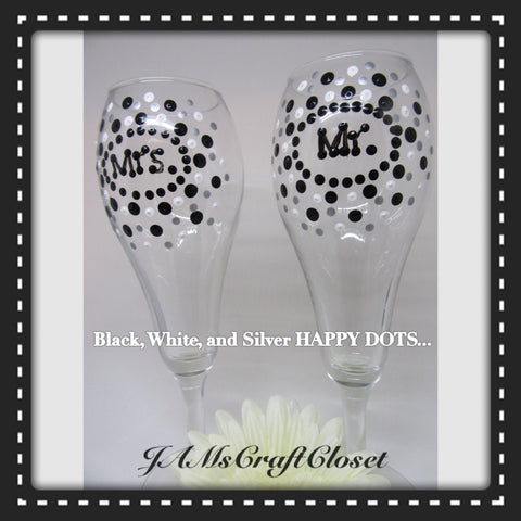 MR and MRS Champagne Stemware Glasses Hand Painted SET of 2 Black White Metallic Silver Wedding Toasting Glasses Barware Drinkware One of a Kind - JAMsCraftCloset