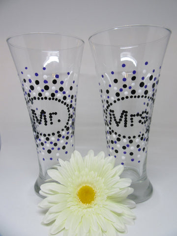 Glasses Mr and Mrs Beer Hand Painted Black White Purple Accents - JAMsCraftCloset