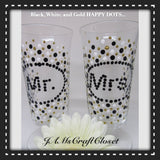 Stemware Mr and Mrs Toasting Glasses Wedding Black White and Gold - JAMsCraftCloset