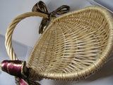 Basket Gathering Vintage Natural Woven With Burgundy and Gold Bows - JAMsCraftCloset