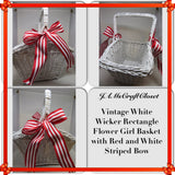 Basket Flower Girl Vintage Wicker White Red Bow Accent Wedding Accessory Table Decor - JAMsCraftCloset