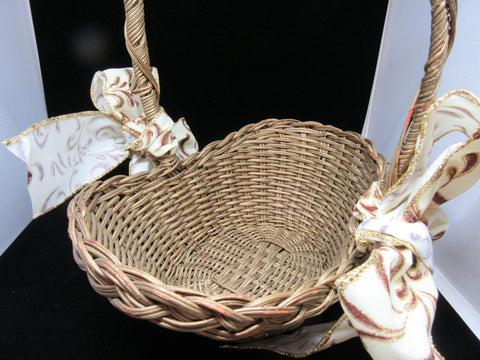 Basket Flower Girl Wedding Accessory Table Decor Vintage Gold Boat Shaped Wicker - JAMsCraftCloset
