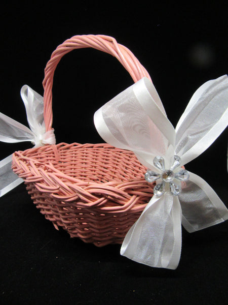Basket Flower Girl Vintage Rose Rectangle Wicker White Bows Crystal Flower Wedding Table Decor - JAMsCraftCloset