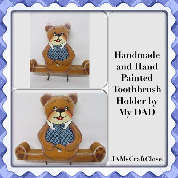 Toothbrush Holder Bear Vintage Handmade Hand Painted Wooden Childs Bath - JAMsCraftCloset