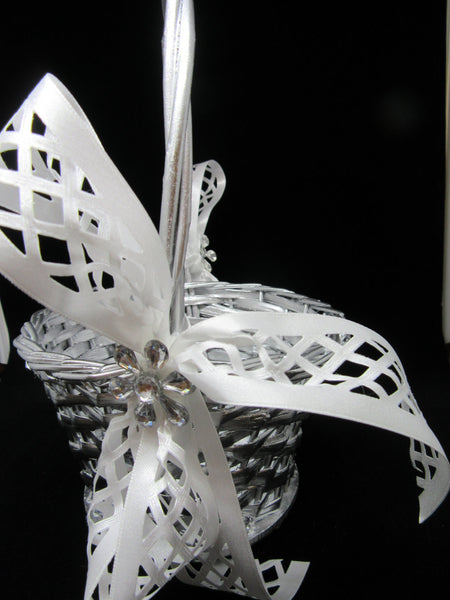 Basket Flower Girl Vintage Silver Woven White Lattice Ribbon Bows Crystal Bling Flower Accents - JAMsCraftCloset