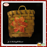 Basket Woven Wall SMALL Vintage Natural Glittered Poinsettia Accent Holiday Country - JAMsCraftCloset