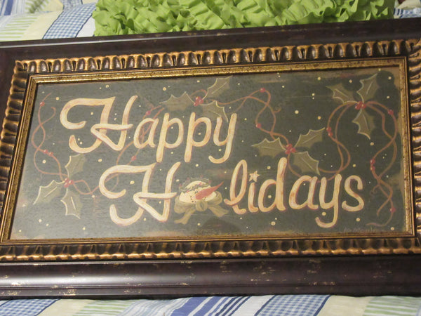 Happy Holidays Picture-Vintage-Beautiful Frame-Unique Frame-Holiday Decor-Christmas Decor-Wall Art-Gift-Home Decor-Country Decor-Snowman - JAMsCraftCloset