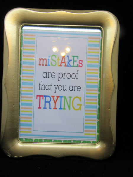 Positive Saying Wall Art Mistakes Are Proof You Are Trying Gold Wood Frame - JAMsCraftCloset