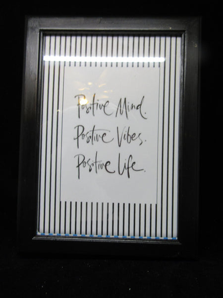 Positive Saying Shelf Sitter Life Positive Saying Black Wood Frame - JAMsCraftCloset