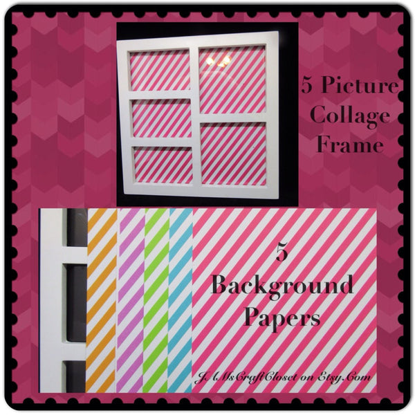 Collage Frame 5 Photo White 5 Background Paper Wall Art Shelf Sitter - JAMsCraftCloset