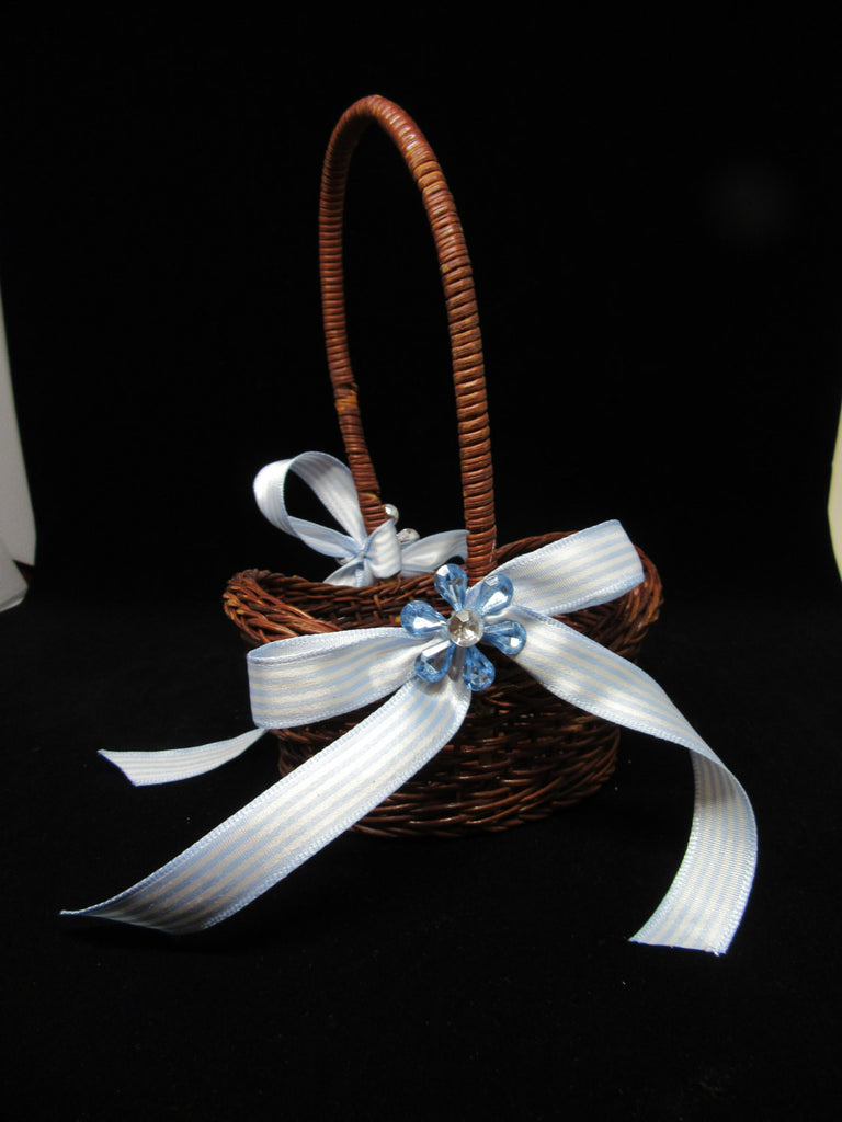 Basket TINY 7 by 4 3/4 by 3 1/2 Flower Girl Natural Vintage Blue Bow and Bling Accent - JAMsCraftCloset