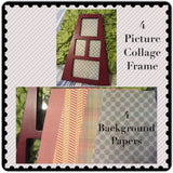Collage Frame 4 Photo 4 Background Papers Wall Art Shelf Sitter Wood - JAMsCraftCloset