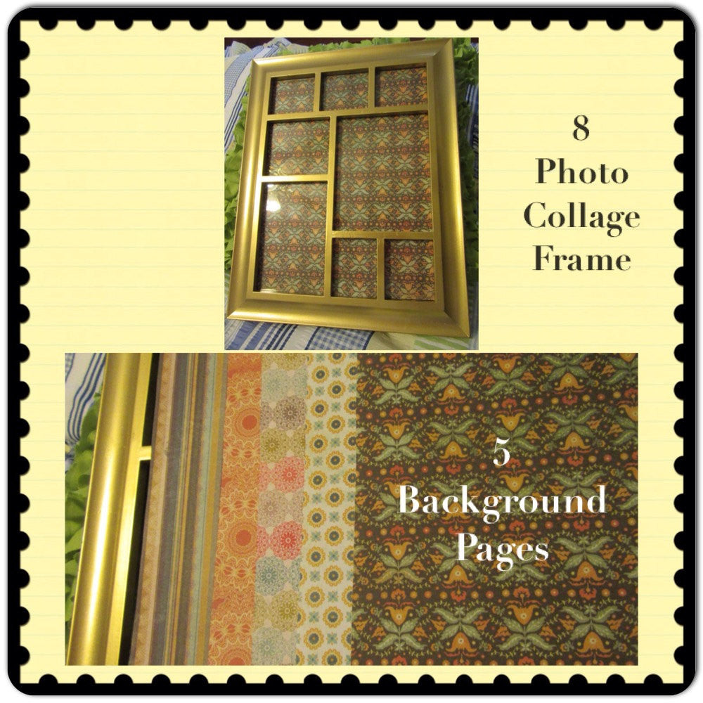 Collage Frame 8 Photo Gold  Wooden Vintage  5 Background Papers Wall Art - JAMsCraftCloset