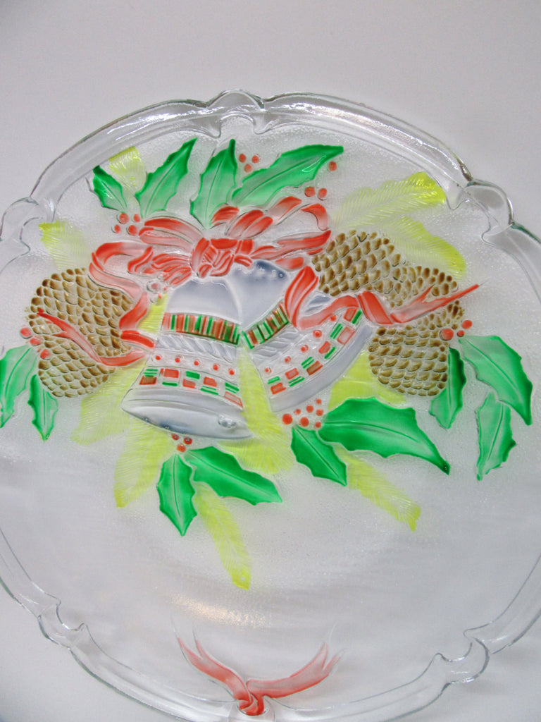 Serving Platter or Plate Hand Painted Round Christmas Bells Pine Cones - JAMsCraftCloset