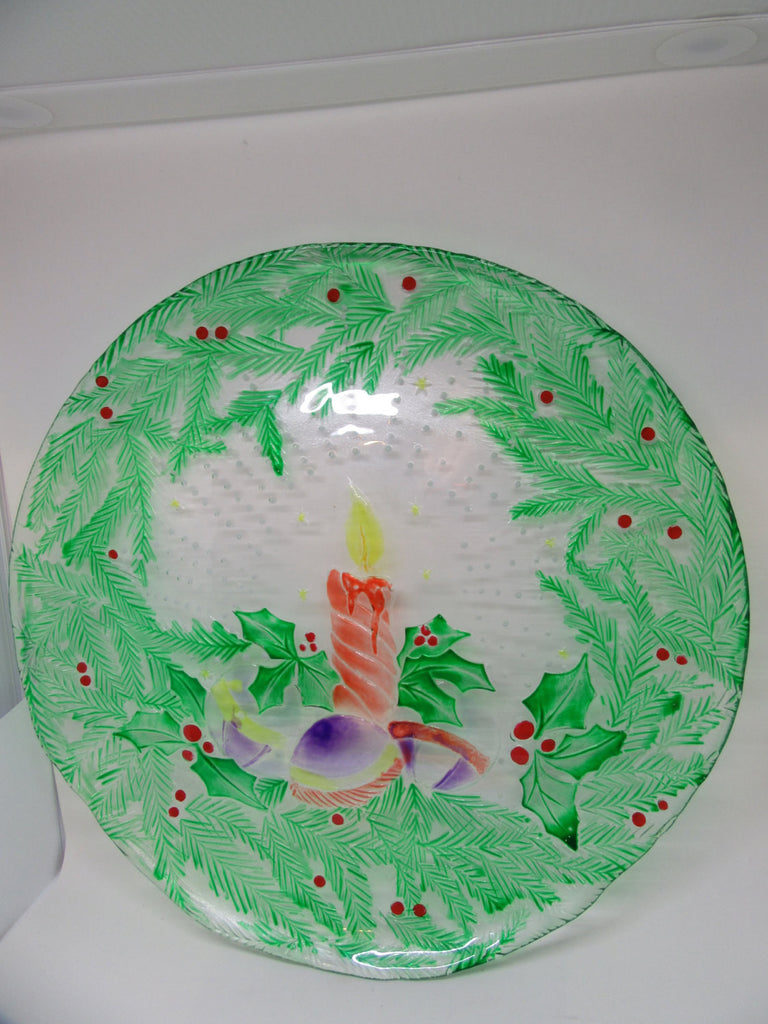 Serving Platter Plate Hand Painted Round Candle Christmas Bulbs - JAMsCraftCloset