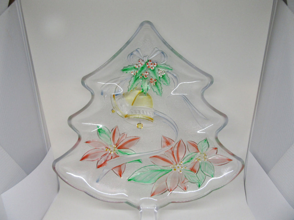 Plate Platter or Tray Tree Shaped Hand Painted Clear Glass Poinsettia Bell Accents - JAMsCraftCloset