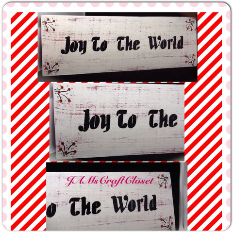 Wood Sign Joy to the World Handmade Hand Painted Holiday Wall Art - JAMsCraftCloset