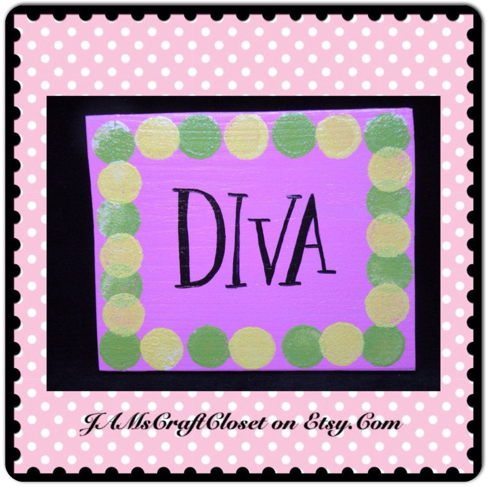 Sign Pink Wooden Princess Wall Art Handmade Hand Painted Girl Power DIVA - JAMsCraftCloset