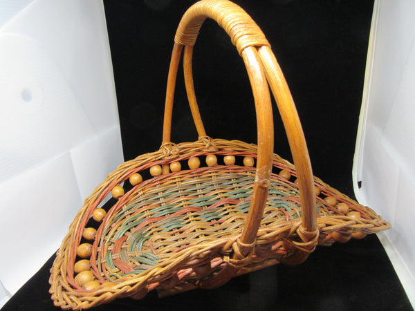 Basket Gathering Unique Vintage Natural Wooden Balls Rust and Green Woven Accents - JAMsCraftCloset