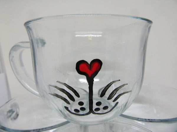 Mug Kitty Cat Hand Painted Clear Glass  With Heart on Handle Gift for Child - JAMsCraftCloset