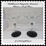 Chalkboard Glasses Stemware Glasses Margarita Glasses Barware Party Set of 2 - JAMsCraftCloset