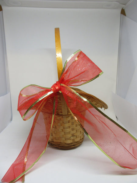 Basket Flower Girl Vintage Natural Woven Wide Brim Red Gold Bow Wedding Accessory Table Decor - JAMsCraftCloset