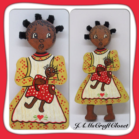 Shelf Sitter Black Americana Pickaninny Vintage Handmade Hand Painted Folk Art - JAMsCraftCloset