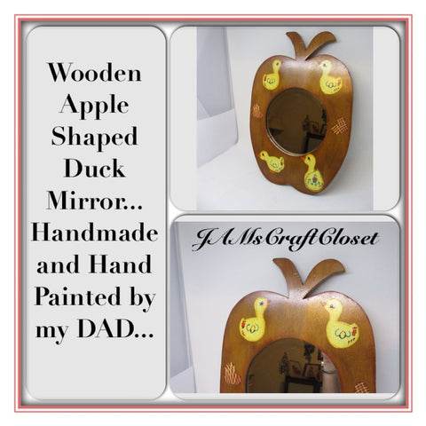 Mirror Vintage Wall Apple Shaped Wooden Duck Country Childs Room - JAMsCraftCloset