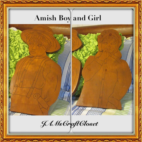 Wall Art Amish Boy Girl Handmade Hand Painted Vintage Wooden Folk Art - JAMsCraftCloset