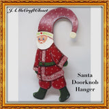 Santa Doorknob Hanger Vintage Handmade Hand Painted Holiday Folk Art - JAMsCraftCloset