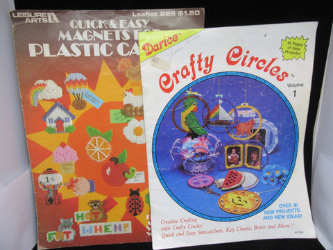 Pattern Books Plastic Canvas Vintage Magnets Crafty Circles How To Gift Boxes Baskets Ornaments Set of Two - JAMsCraftCloset
