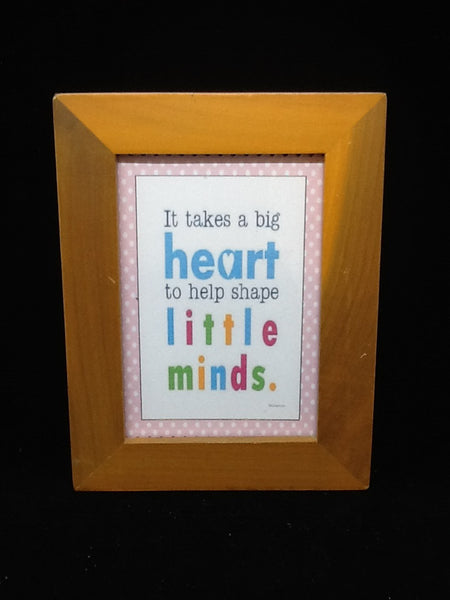 Wall Art Vintage Teacher Mom  Saying It Takes a Big Heart to Help Shape Little Minds - JAMsCraftCloset