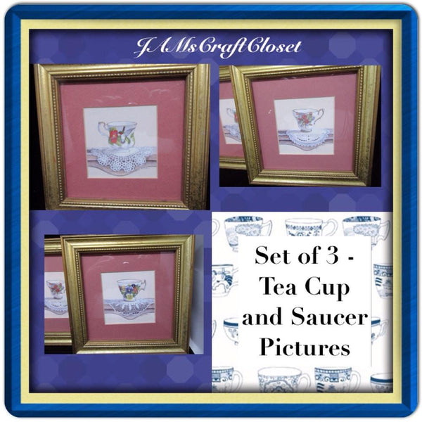 Tea Cups and Saucers-Vintage-Wall Art-Wall Hanging-Set of 3-Home Decor-Kitchen Decor-Country Decor-Victorian Decor-Gift - JAMsCraftCloset