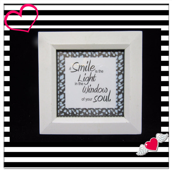 Smile- Positive Saying-Framed-Home Decor-Country Decor-Shelf Sitter-White Frame-Gift-Affirmation-Victorian-Cottage Chic-Soul-One of a Kind - JAMsCraftCloset