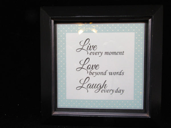 Wall Art Live Love Laugh Positive Saying Framed Affirmation - JAMsCraftCloset