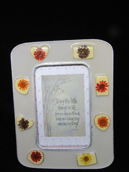 Positive Saying Shelf Sitter Enjoy the Little Things Resin Metal Frame Floral Mosaic - JAMsCraftCloset