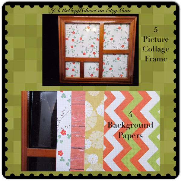 Collage Frame 5 Photo Gold4 Background Paper Wall Art Shelf Sitter - JAMsCraftCloset