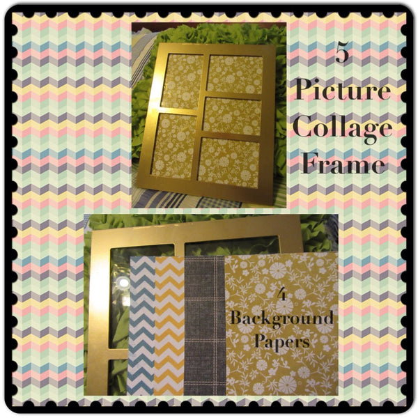 Collage Frame 5 Photo Gold Wooden Vintage 4 Background Papers Shelf Sitter Wall Art - JAMsCraftCloset