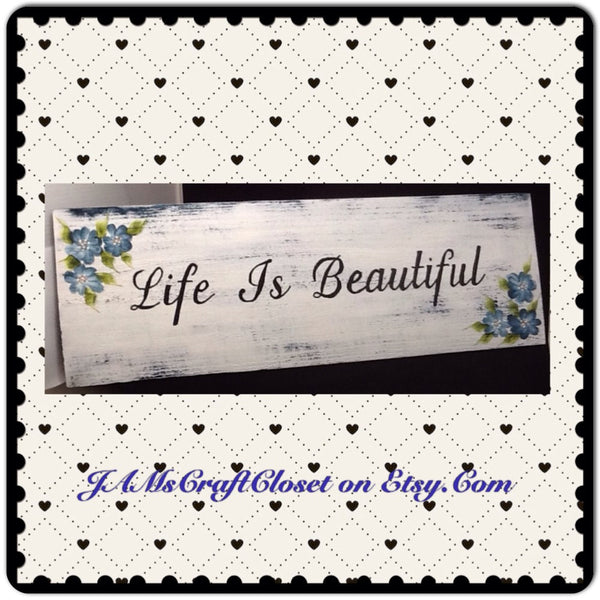 Wood Signs Positive Saying I Love You More Life is Beautiful Forever and Always Wall Art - JAMsCraftCloset