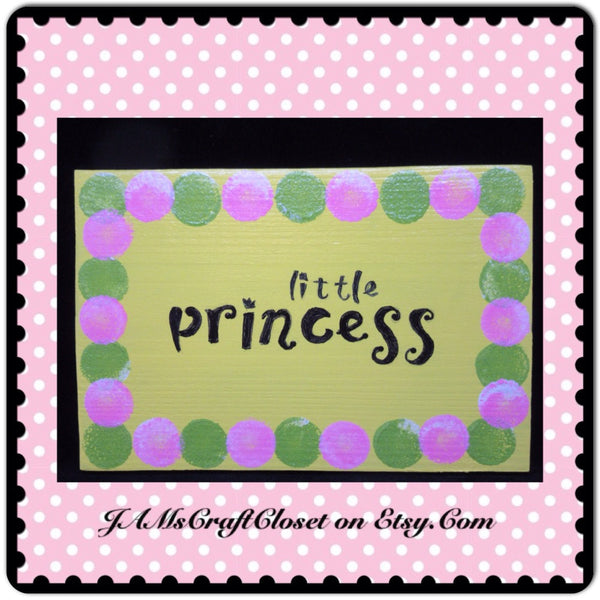 Sign Yellow Wooden Princess Wall Art Handmade Hand Painted - JAMsCraftCloset