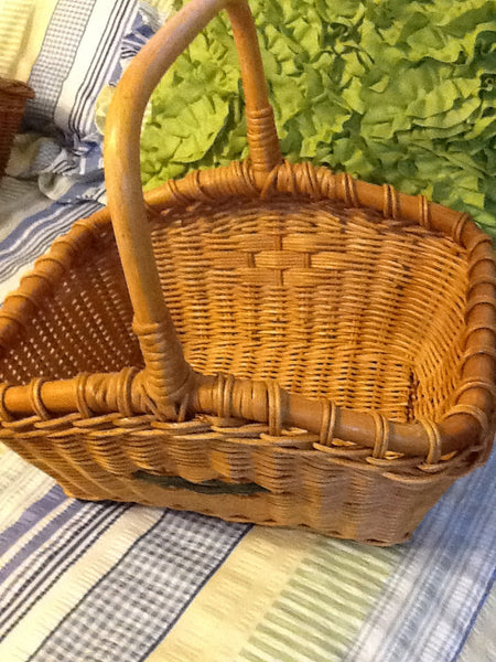Basket Gathering Retangle Vintage Natural Woven - JAMsCraftCloset