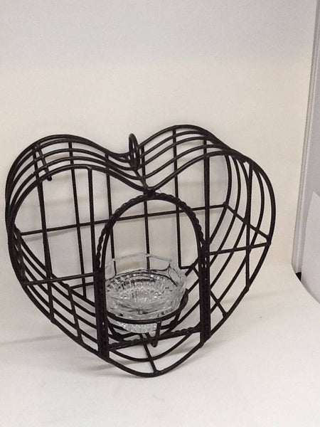 Birdcage Vintage Heart Shaped Black Wrought Iron Candle Holder - JAMsCraftCloset