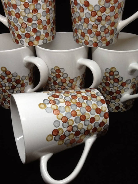Mugs Hand Painted Gold Silver Bronze HAPPY DOTS - JAMsCraftCloset